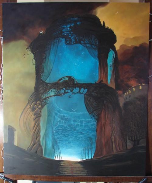 malowana reprodukcja obrazu beksińskiego